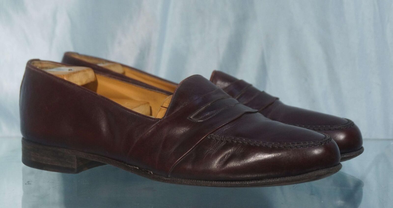 Handsome BALLY Burgundy Faux Penny Loafers 10D