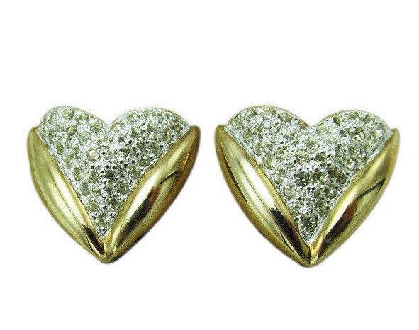 Panetta Vintage Clip Earrings Pave Crystal Rhinestone Gold Heart Designer 434e