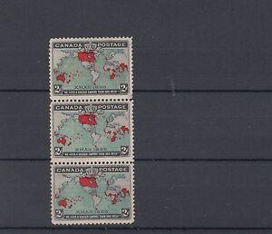 86b-Map-Stamp-strip-of-three-F-MNH-Cat-225-Canada-mint