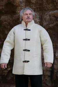 MEDIEVAL GAMBESON DOUBLET ARMING JACKET ARMOR WHITE COLOR GOTHIC FANTASY