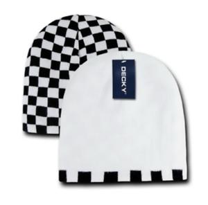 Decky Reversible Checkerboard 8024 Black White Beanie Woolly Hat BNWT RRP £40