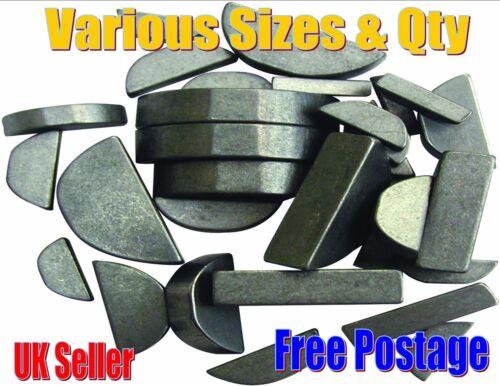 Metric Woodruff Keys Various Sizes Choose Quantity Thickness 2mm-10mm Free Post