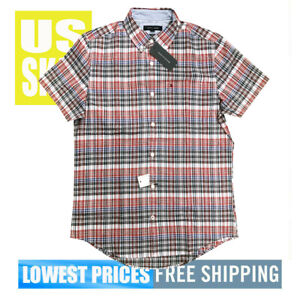 Tommy-Hilfiger-Men-039-s-NWT-Red-WB-Checker-2-SLIM-Fit-Button-D-Sh-Sl-Shirt-LARGE