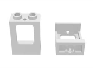 LEGO: White Window 1X2X2 Plane Single hole top /& bottom for glass 60032 X5.