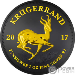 KRUGERRAND-Black-Ruthenium-1-Oz-Silver-Coin-1-Rand-South-Africa-2017