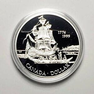 Canada 1999 Ship .925 Sterling Silver $1.00 One Dollar Coin Proof