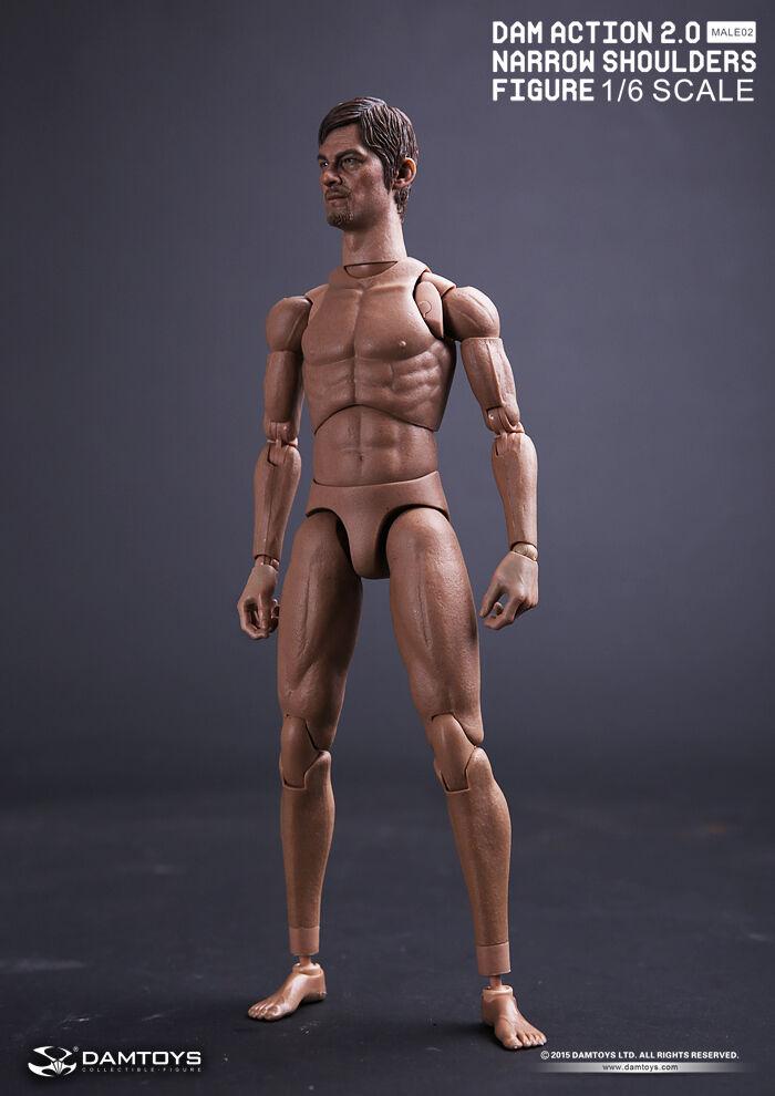 1 6 DAM ACTION 2.0 NARROW SHOULDERS BODY & Walking Dead Daryl head model MALE02
