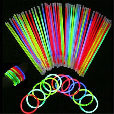 Best 100Pcs Glow Sticks Bracelets Necklaces Fluorescent Neon Party Wedding Magic