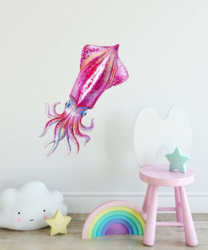 Squid Wall Decal Watercolor Wall Sticker Removable Wall Art