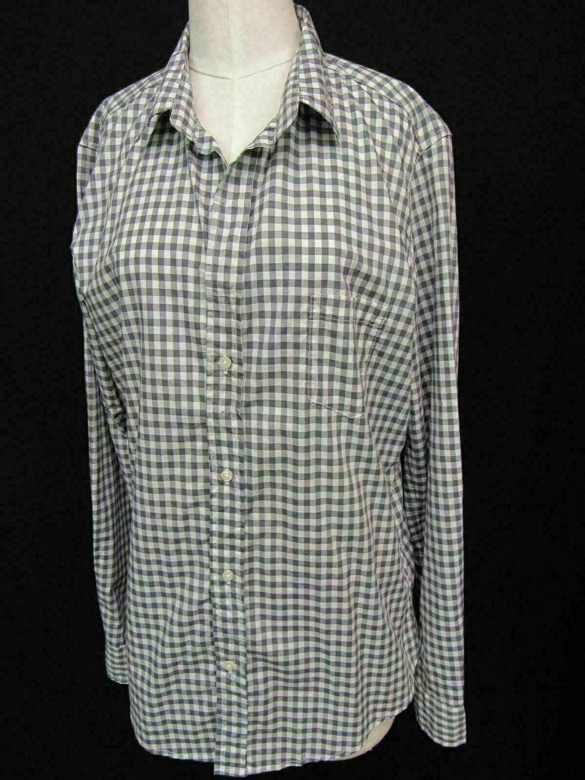 Frank & Eileen grau Weiß Check Gingham Barry Cotton Long Sleeve Top Shirt XL