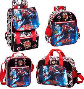 Official-Spiderman-Black-Backpack-Rucksack-Travel-Bag-Lunch-Bag-Boys-School