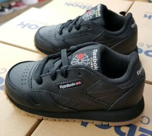 dad192a43a7 Image is loading REEBOK-INFANTS-CLASSIC-LEATHER-BLACK-GUM-V69625-TODDLER