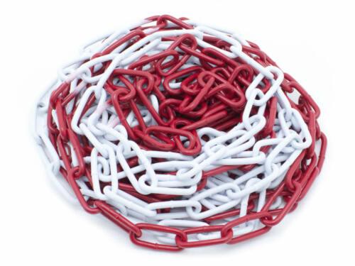 5M Absperrkette rot-weiß Metallkette Warnkette Rundstahlkette aus Metall 38x22mm