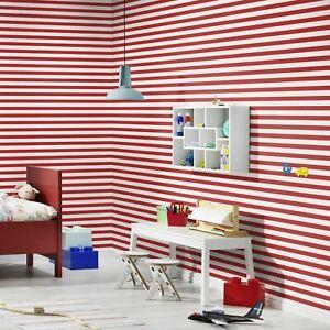 Enfant-XVIII-Etroit-Rayure-Papier-Peint-Rouge-Blanc-Rasch-246032-Neuf