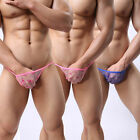 Mens Underwear Lace Sheer Thongs G String Briefs Bikini Sexy Low Rise Lingerie