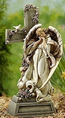 """14.75""""In Memory Of Angel With Cross Memorial Indoor Outdoor Garden Statue #47448"""