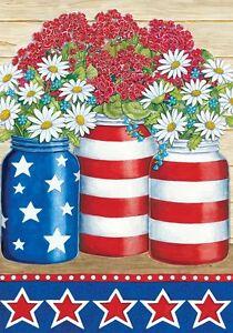 PATRIOTIC GERANIUMS & DAISIES Stars & Stripes Custom Decor Garden Flag USA Print