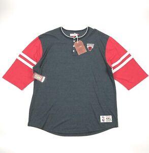Chicago-Bulls-Mitchel-amp-Ness-NBA-Home-Stretch-Henley-T-Shirt-Mens-4XL