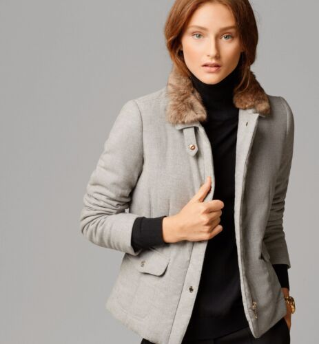 NEW MASSIMO DUTTI ZARA GROUP WOOLEN GREY QUILTED JACKET WITH FUR COLLAR SZ L XL