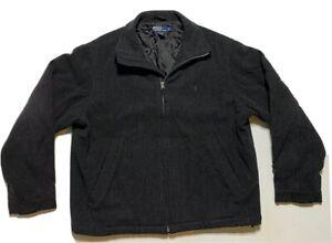 Vtg-Polo-Ralph-Lauren-Wool-Jacket-Black-Harrington-Bomber-Zip-Up-Mens-Sz-Large