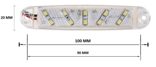 8x 12V 24V 10 LED Front Side Marker White Lights Lamps For Trailer Truck Lorry