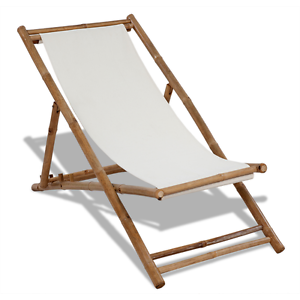 details about bamboo deck chair white canvas garden chair adjustable lounger beach pool wood