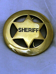 Solid-Brass-Sheriff-Badge-Belt-Buckle