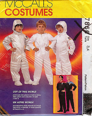 Out Of This World Astronaut Costume McCall's Sewing Pattern #7856 Kids Size 3, 4