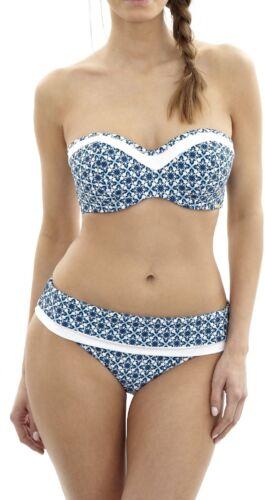PANACHE U//W-ROCHA BANDEAU BIKINI BRA+PANT-SET SW08973-BLUE-WHITE-MOSAIC