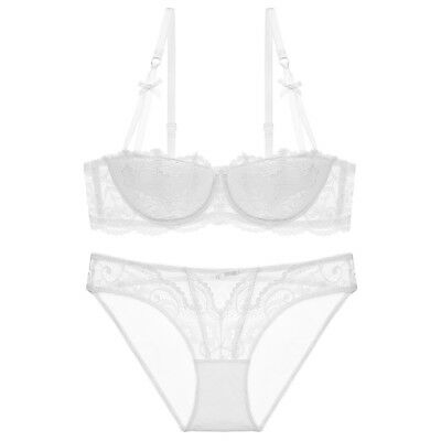 32-42 Women Transparent Demi cup Embroidered Unlined Ultra-thin Push Up Bra Set