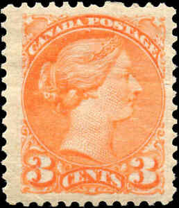 1873-Mint-H-Canada-F-VF-Scott-37-3c-Small-Queen-Issue-Stamp