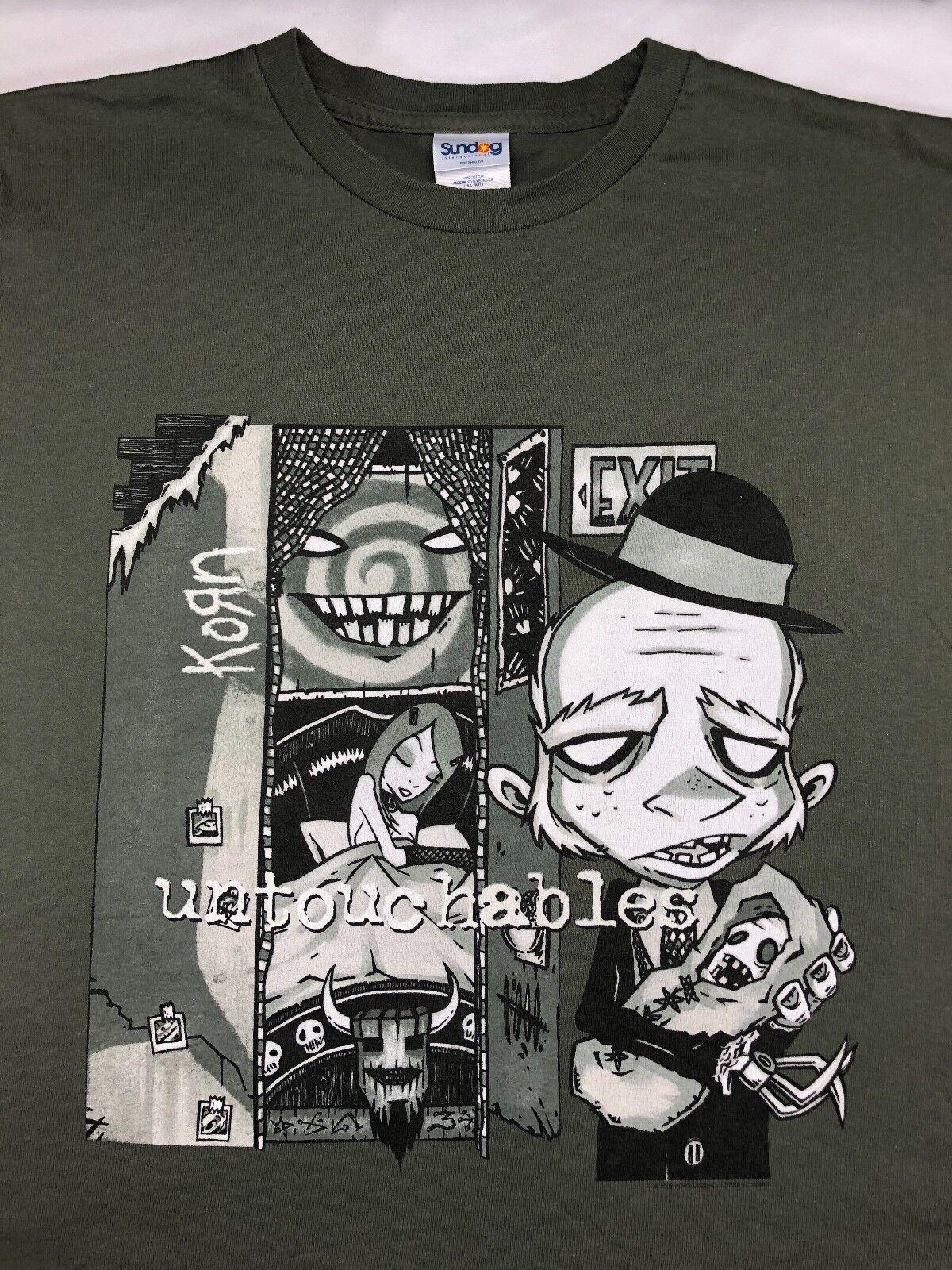 Mens 2002 L KORN Untouchables Concert World Tour Nu Metal Graphic Green T-Shirt