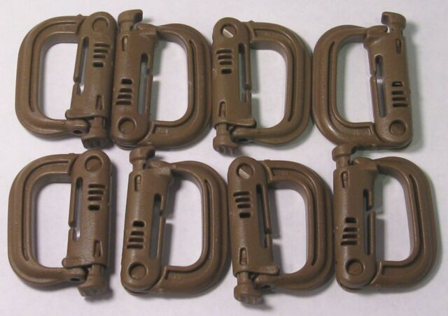 Grimloc, D-Ring Carabiner Coyote Brown MOLLE II,  FLC (set of Eight 8) Grimlock