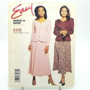 Easy Plus Size Princess Seam Jacket Skirt Sewing Pattern 8498 McCall 14 16 18 20