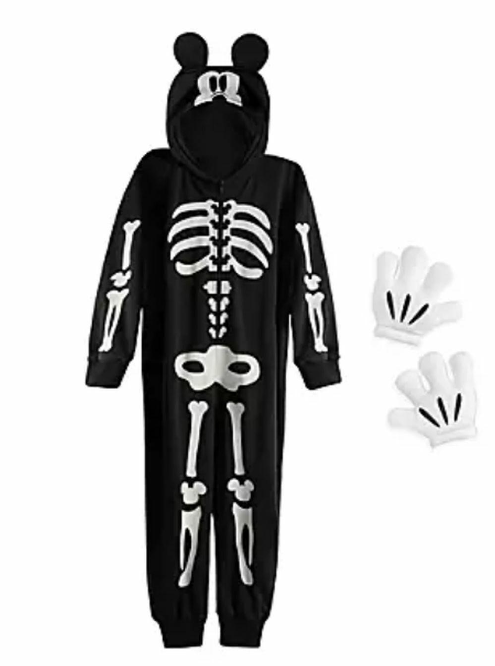 NEW Disney Store 4 year Mickey Mouse Glow In Dark Skeleton Costume Boys Girls