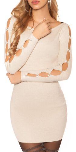 Enzoria Minikleid Strickkleid Dress mit Strass-Steinen