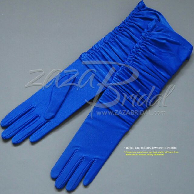 Gathered 4-Way Stretch Matte Finish Satin(14BL) Gloves - Various Colors