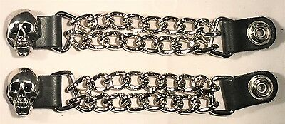 3 INDIAN HEAD DOUBLE CHAIN MOTORCYCLE BIKER MC CLUB VEST EXTENDERS MADE IN USA