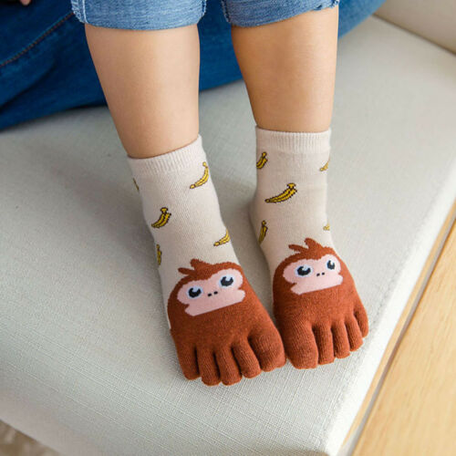 .Toddler Baby Kids Girls Boys Cartoon Animal Five Fingers Sock Hosiery Toe Socks