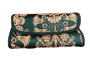 Jewelry-Travel-4-Compartment-Fabric-Organizer-Green-Gold