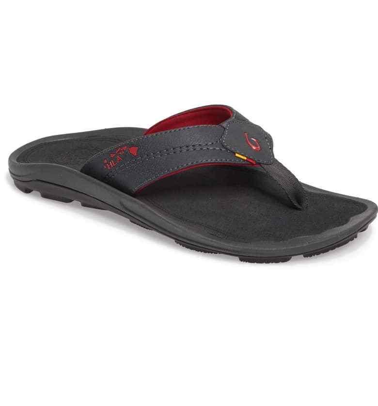 Olukai Kipi Dark Shadow  Red Flip Flop Sandal Men's size 13 NEW  Free Shipping