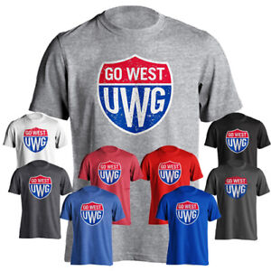 buy online 91471 ee972 Details about University of West Georgia UWG Wolves Go West Shield Short  Sleeve T-Shirt