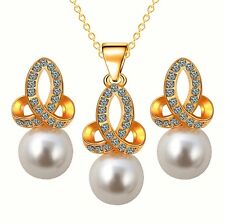 Pearls Silver Crystal Gold Tone Pendant Chain Necklace Earrings Bridal Set UK