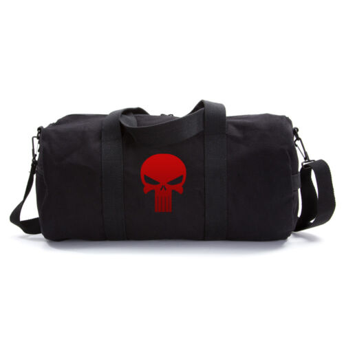Vintage Army Sport Heavyweight Canvas Duffel Bag with Punisher Skull