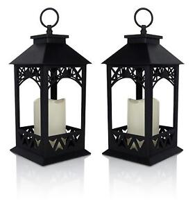 Decorative-LED-Black-Lantern-With-Flameless-LED-Candle-Indoor-Outdoor-Set-of-2