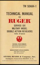 Rare Sturm/Ruger SDA84-1 Service Six .38 Caliber Special Revolver Tech Manual