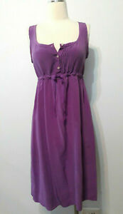 COUNTRY-ROAD-Pure-Silk-Front-Button-Up-Dress-Purple-Drawstring-Sz-6-Fit-amp-Flare