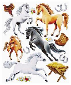 3D-Wandsticker-Wandtattoo-Pferd-Pferde-Set-II-XXL-3D-Kinder-Sticker-Aufkleber