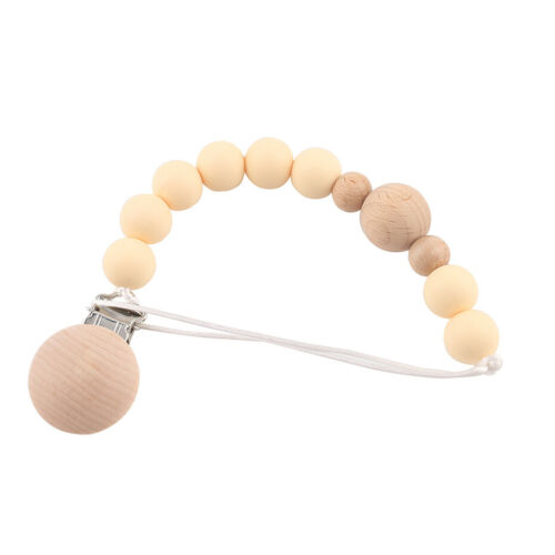 Natural Wood Food Grade Silicone Teether Beads Baby Teething Pacifier Clip Chain
