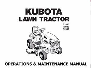 kubota t1880 t2080 t2380 manual w garden tractor operation service rh ebay co uk Kubota T2080 Parts Case IH Wiring Diagrams